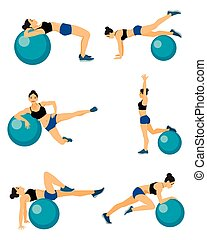 Girls with blue fitball - Vector illustration of a girls...