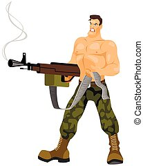 Commando with machine gun - Vector illustration of a...