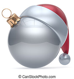 Christmas ball ornament white New Year's Eve adornment...