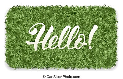 Hello mat - Hello. Doormat of the green grass with...