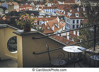 Cafe terrace in european city - Cafe terrace in Prague city...