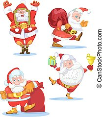 Santa Claus with a raised right hand. Cartoon character