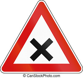 Slovenian road warning sign - Uncontrolled crossroads.