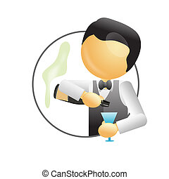 bartender making a drink with glass and liquor in hand
