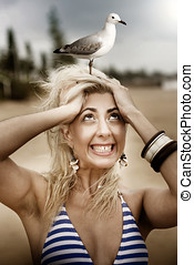 Fearful Beach Going Woman Scared Of Birds Has A Panic Attack...