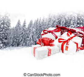 Santa Bag - Photo of Santa bag and gifts with falling snow...
