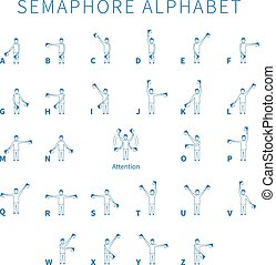 English semaphore alphabet blue person icons on white