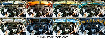 Cockpit airplane collage - Cockpits collage in 8 famous...