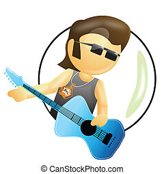 rockstar - a rockstar, musician having a guitar in hand