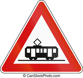 Slovenian road warning sign - Tram crossing.