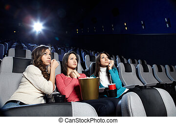 The upset girls - Young girls at viewing of sad cinema