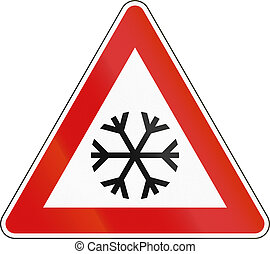 Slovenian road warning sign - Icy ahead.
