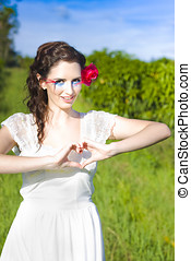 Love Heart Sign - Lovely Woman With A Beautiful Smile Stands...