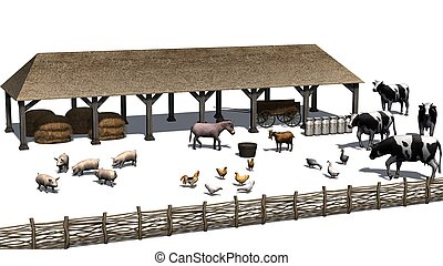 small farm with animals