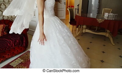 Incredibly beautiful, young bride posing in a hotel room in...