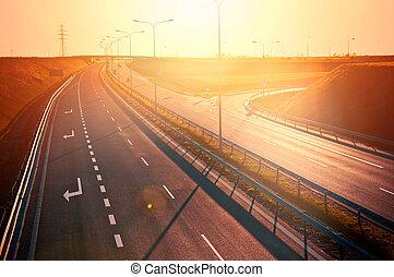 över, solnedgång, röd, tom, Motorväg