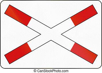 Slovenian road warning sign - Crossbuck for single track...