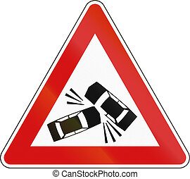 Slovenian road warning sign - Accidents likely