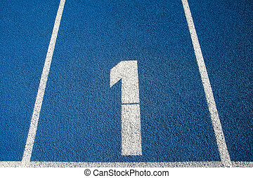 Number 1 on a running track - Number 1 on a blue running...