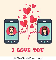 Valentine's day card with man and woman avatars on smartphone displays in flat style