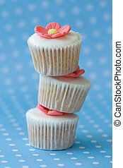 Stack of cupcakes - Three cupcakes arranged in a stack