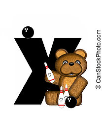 Alphabet Teddy Bowling X - The letter X, in the alphabet set...