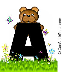 Alphabet Teddy Butterfly Field A - The letter A, in the...