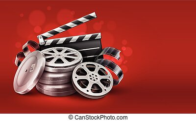 Online cinema with movie tape disks in boxes and directors clapper for filmmaking