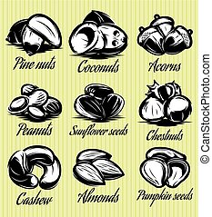 set of symbols patterns of different seeds, nuts, fruits