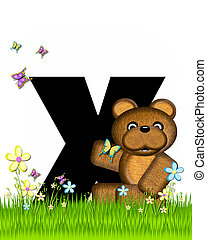 Alphabet Teddy Butterfly Field X - The letter X, in the...