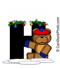 Alphabet Teddy Christmas Boughs H - The letter H, in the...