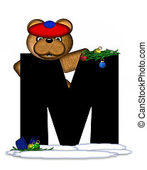Alphabet Teddy Christmas Boughs M - The letter M, in the...