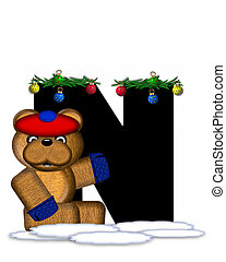 Alphabet Teddy Christmas Boughs N - The letter N, in the...