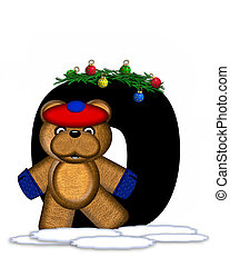 Alphabet Teddy Christmas Boughs O - The letter O, in the...