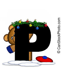 Alphabet Teddy Christmas Boughs P - The letter P, in the...