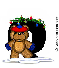 Alphabet Teddy Christmas Boughs Q - The letter Q, in the...