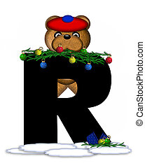 Alphabet Teddy Christmas Boughs R - The letter R, in the...