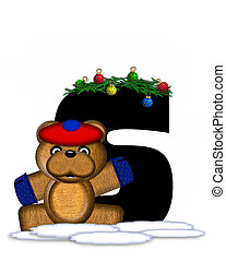 Alphabet Teddy Christmas Boughs S - The letter S, in the...