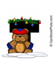 Alphabet Teddy Christmas Boughs T - The letter T, in the...