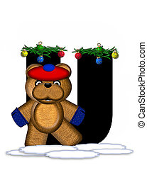 Alphabet Teddy Christmas Boughs U - The letter U, in the...