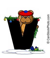 Alphabet Teddy Christmas Boughs V - The letter V, in the...