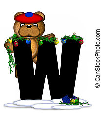 Alphabet Teddy Christmas Boughs W - The letter W, in the...