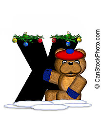 Alphabet Teddy Christmas Boughs X - The letter X, in the...