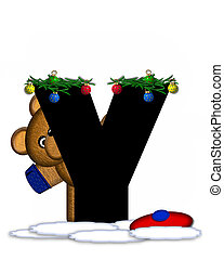 Alphabet Teddy Christmas Boughs Y - The letter Y, in the...
