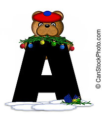 Alphabet Teddy Christmas Boughs A - The letter A, in the...
