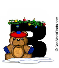 Alphabet Teddy Christmas Boughs B - The letter B, in the...