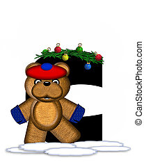 Alphabet Teddy Christmas Boughs C - The letter C, in the...