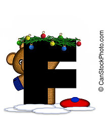 Alphabet Teddy Christmas Boughs F - The letter F, in the...
