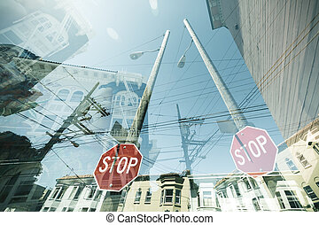 San Francisco - Double exposure photograph in the streets of...