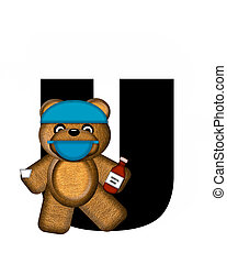 Alphabet Teddy Dental Checkup U - The letter U, in the...